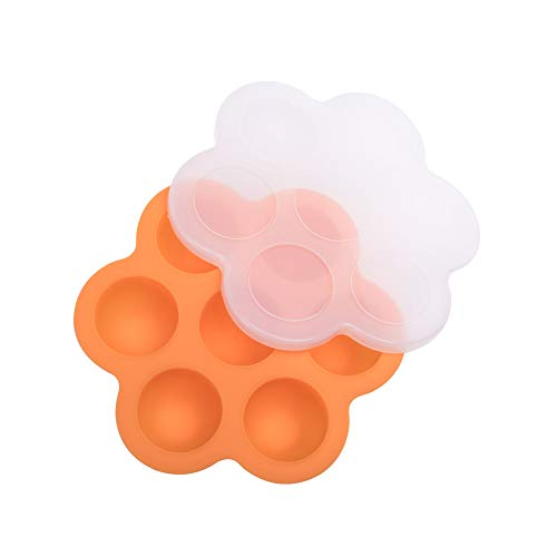 topxingch 7 Grids Zomer DIY Ice Ball Silicone Mold Baby Voedsel Vriezer vak met Deksel ORANJE