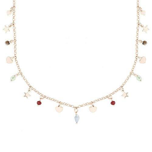 collana donna girocollo colorata Linea Italia Gioielli - Collana Girocollo per Donna in Argento 925 Placcato Rosa con Perline Colorate