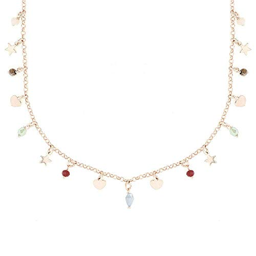 Linea Italia Gioielli - Collana Girocollo per Donna in Argento 925 Placcato Rosa con Perline Colorate, Cuori e Stelle - Made In Italy