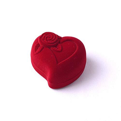 Scatola per gioielli Titolare Rosso Del Contenitore Di Regalo Di Disegno Del Fiore Di Rosa Del Contenitore Di Monili Di CerimoniaAggancio Del Contenitore Di Anello Di Velluto A Forma Di Cuore / 1pcs