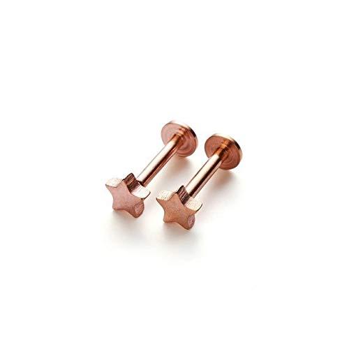 GSZP XF 1/2 pendientes para cartílago, hélice, tragus, oreja, barra de acero de cristal, accesorios de joyería para el cuerpo, regalos (color metálico: oro rosa)
