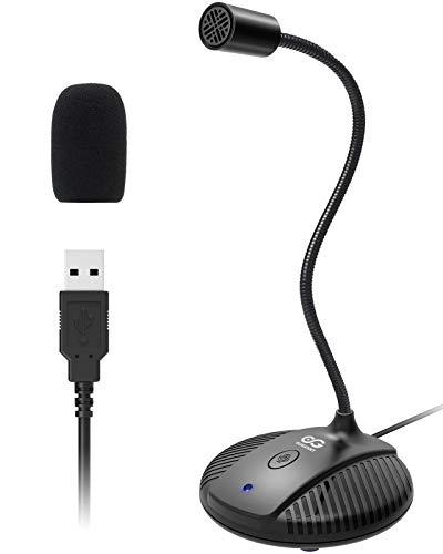 ELEGIANT Micrófono PC, Micrófono de Condensador Ordenador para Grabación, USB Plug & Play con Botón de Silencio, Compatible con Windows, Mac para Zoom, Skype, Youtube, Gaming, Podcasting, TIK Tok