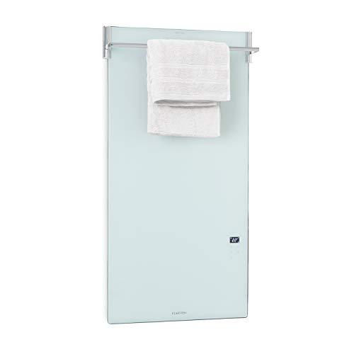 Klarstein Hot Spot Crystal Spotless Smart Infrarotheizung Elektroheizung Heizstrahler, 59 x 112 cm, 750W, IR ComfortHeat, WiFi: App-Steuerung, Wandinstallation, ausklappbare Handtuchstange, weiß