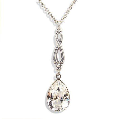 nobel-schmuck Jugendstil Kette mit Kristalle von Swarovski® Silber