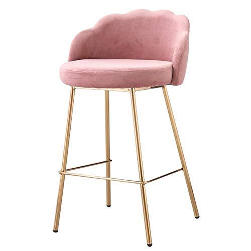 NYDZ Modern Style bar stoel met ergonomische rugleuning |Roze fluwelen stoel | gegalvaniseerd metalen poten | Counterstoel keuken ontbijt barkruk | Zithoogte 66 cm