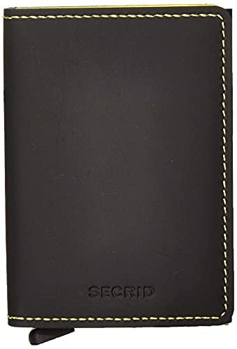 SECRID - Secrid - Funda para tarjetas de seguridad RFID de cuero mate para 12 tarjetas (negro amarillo)