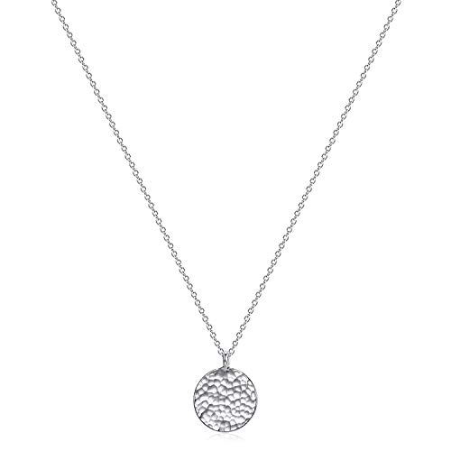 Fettero Necklace for Women Dainty Handmade Hammered Sterling Silver Plated Carved New Circle Full Round Wafer Waning Waxing Moon Phase Pendant Chain Minimalist Jewelry (Full Moon Silver)