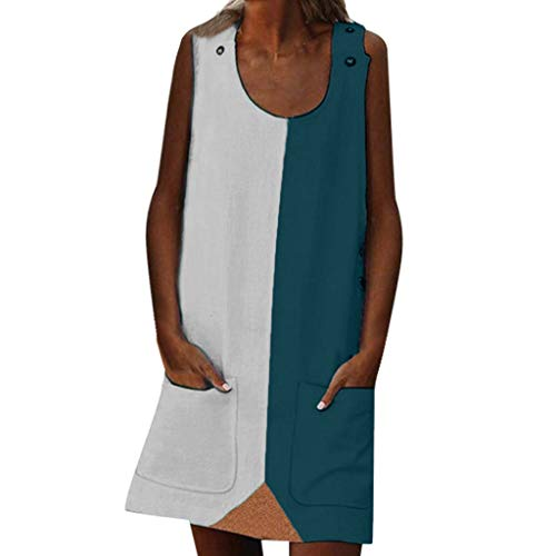 Best Deals! Palalibin Women Fashion Summer Street Leisure Sleeveless Spliced Pocket Large Size Dress...