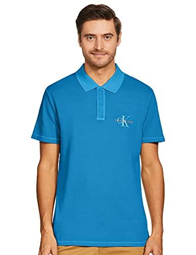 Calvin Klein Archive Monogram Embro Polo, Azul (Coastal Blue C2o), S para Hombre