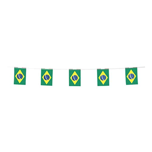 Brazil Flags Brazilian Small String Flag Banner Mini National Country World Flags Pennant Banners For Party Events Classroom Garden Olympics Festival Grand Opening Bar Sports Celebration Decorations