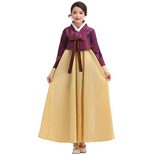XFentech Ladies Coreano Trajes Tradicionales Hanbok Vestido - Ladies Manga Larga Vestido Princesa Antiguo Disfraz, Morado-Amarillo, Busto-110