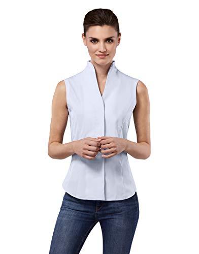Vincenzo Boretti Damen Bluse mit Kelchkragen leicht tailliert 100% Baumwolle bügelleicht Kurzarm ärmellos Hemdbluse mit Stehkragen elegant festlich auch für Business hellblau 38