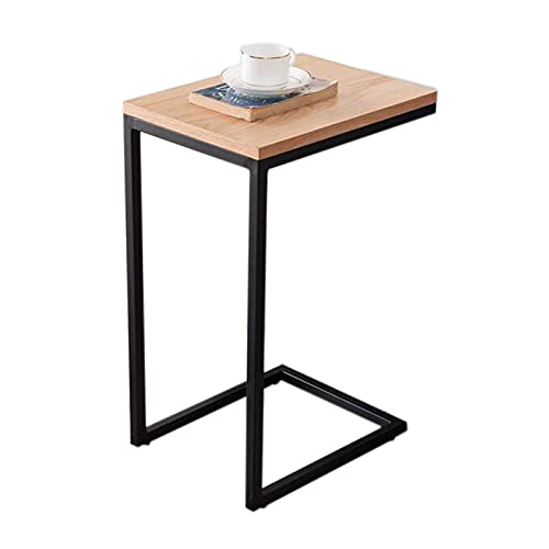 N\C Table Metal Leg C-Shaped End Table, Snack Side Table, White Oak Living Room Sofa Side Table, Bedroom Bedside Table for Living Room Bedroom (Color : Wood, Size : 15.74 11.81 23.62in)