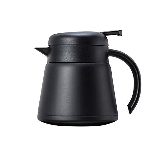 OnePine 800ml Edelstahl Doppelschicht Vakuumisolierter kaffeekanne Teekanne - Heiß und kalt dual Gebrauch (Schwarz)
