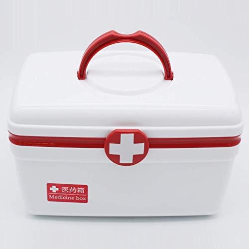 WYYAF Hausapotheke Box, Medizinbox Groß, Kunststoff Dauerhaft 2-Lagen Der Großen Kapazität Mit Deckel Arbeitsplatz Nach Hause Reisen