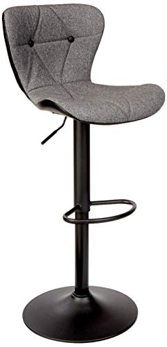 Counter Height Swivel Bar Stools, Barstools Bar Height, Stool Chair, Modern Upholstered with Diamond Stitched Pattern, Grey and Black, by Halter