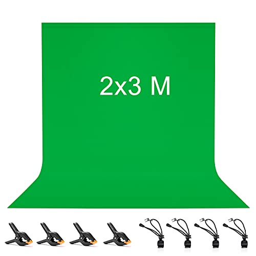 Vevelux Croma Verde 2 x 3M, Pantalla Verde Plegable con 8 Pinzas, 100%...