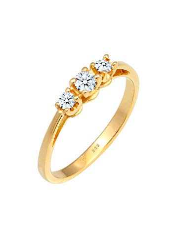DIAMORE Ring Damen Verlobungsring Trio mit Diamant (0.22 ct.) in 585 Gelbgold