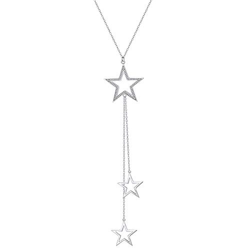 S925 Sterling Silver Long Stars Statement Necklace Pendant for Women Chain Sweater Fashion Jewelry