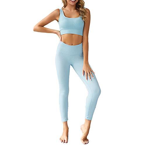 Aibeajoy Damen Yoga BH & Leggings Hosen Trainingsanzüge Sportkleidung Damen Set Tights Shape Stretch Sport Outfit Damen Fitness Set (Blau, S)