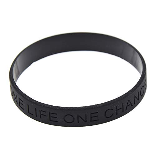 CNSP VIVIZEY 1 Piece Debossed Letter One Life One Chance Silicone Wristband Black Rubber Bracelet Jewelry For Men Women