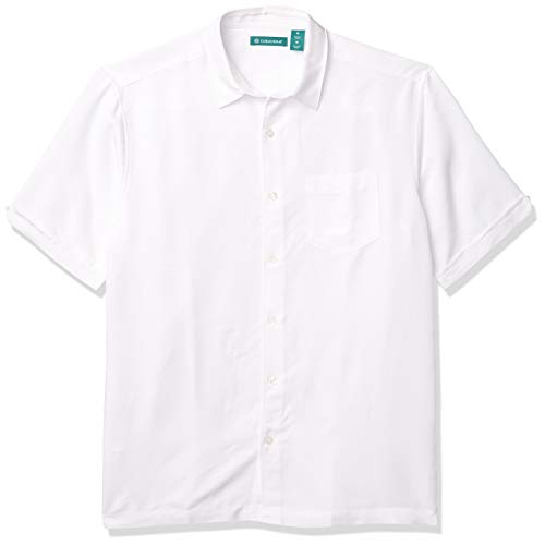 Cubavera Men's Tropical Tonal Pocketed Short Sleeve Woven Shirt, Bright White, XX-Large