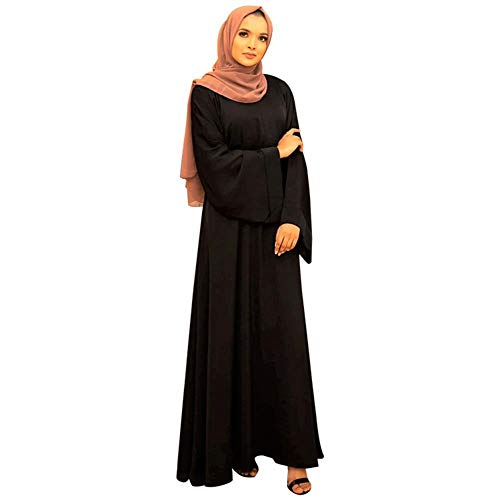 HZUX Casual Muslim Women's Long Dress Women Dubai Dress Kaftan Abayas Tie Front Islamic Abaya Black