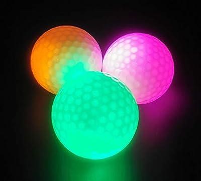 Springen Glow Golf Balls, Led Glowing Golf Ball in The Dark Night (3PCS)