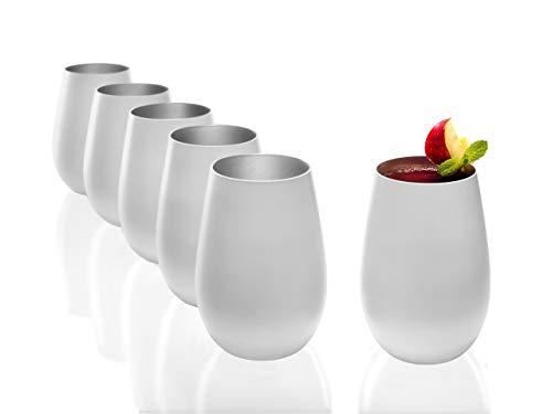 Stölzle Lausitz - Juego de 6 vasos de agua 465 ml, mate, apto para lavavajillas, cristal sin plomo, vidrio, Blanco (mate), plata., 465ml