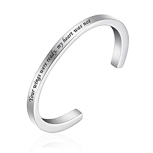 abooxiu Urn Bracelet for Ashes for Women Men Mantra Cuff Bangle Memorial Cremation Jewelry Stainless Steel Keepsake - Customize Available