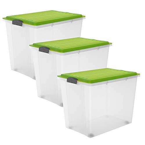 Rotho Compact 3er-Set Aufbewahrungsbox Deckel und Rollen, Kunststoff (PP) BPA-frei, grün/transparent, 3 x 70l, (57 x 39,5 x 43,5 cm), 3