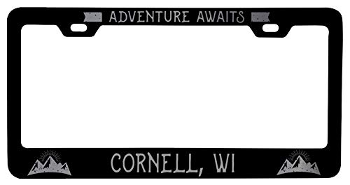 R and R Imports Cornell Wisconsin Laser Etched Vanity Black Metal License Plate Frame