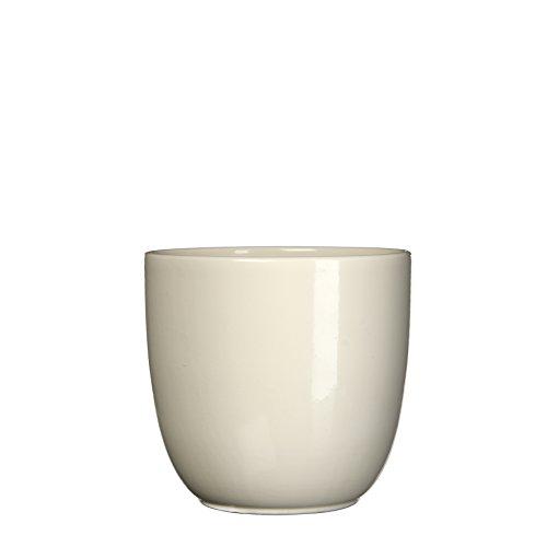 MICA Decorations Übertopf Keramik für Indoor, Creme, 19.5 x 19.5 x 18.5 cm