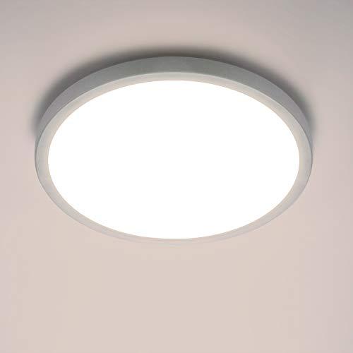 Yafido LED Lámpara de Techo Moderna 24W Plafón Led Redonda Ultra Delgado Downlight Blanco Cálido 3000K 2160LM adecuada para Cocina Balcón Dormitorio Corredor Sala de Estar Ø23cm No-Regulable