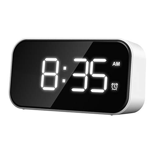 Baoblaze Despertadores Relojes de Escritorio Pequeños Puerto USB para Cargar 12 / 24H para Snooze Kitchen Home Office - Carácter Blanco, Individual