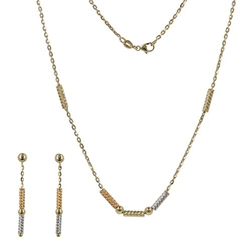 Gioiello Italiano - Juego de joyería tricolor de oro de 14 quilates con cilindros, collar y pendientes, de mujer