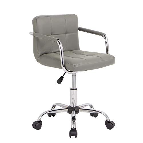 Neo Schreibtischstuhl / Bürostuhl, Kunstleder, gepolstert, mit Chrom-Beinen, drehbar, klein, verstellbar, Grau