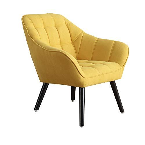 Adec Group Olden, Sofa Individual de una Plaza, Sillon Descanso, 1 Persona, Acabado Tejido Mostaza y Patas Negras, Medidas: 83 cm (Largo) x 75 cm (Ancho) x 77 cm (Alto)