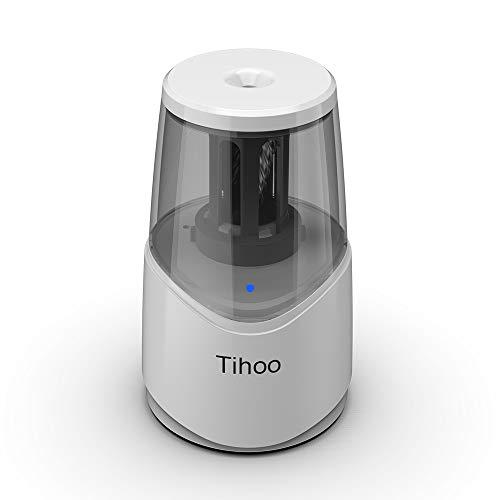 『Tihoo電動シャープナー 鉛筆削り USB充電 ムダ削り防止 子供 学校 事務用(白)』の1枚目の画像