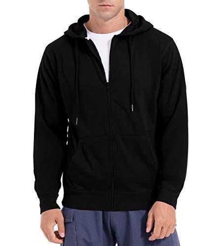 QUALFORT Men's Full Zip Hoodie Cotton Lightweight Hoodie Jacket Black Large