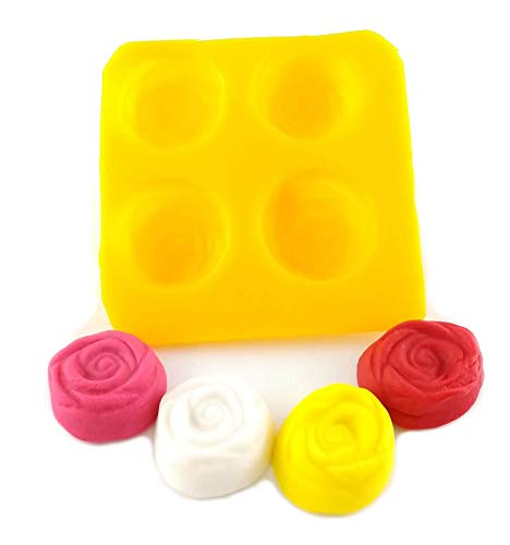 Flexible Molds - Rose (4 cavity) - Cream Cheese Mint Molds - Candy Melts - Fondant - Caramels - Soft Candy Molds