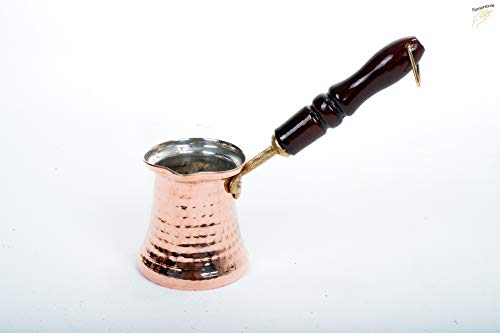 Erotto Türkische Kupfer Kaffeekanne - Mokkakanne - Ibrik-Cezve - Handgefertigte Kaffeekanne -Türkische kaffeekanne (3-4 Portion, Holzgriff)