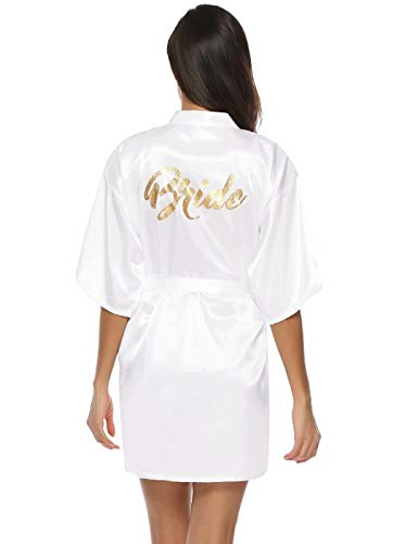 Aiboria Kimono Mujer Bata Novia Dama de Honor Satén Mujer Ropa de Dormir Batas ,Cortos con Cuello en V Oblicuo para Despedida de Soltera, Bodas, Fiestas.
