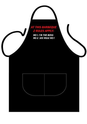 ICONIC APRONS Tablier Noir en Coton avec Inscription Barbeque 2 Roules, pour Cuisine ou Barbecue dans Le Jardin, en Plein air. Unisexe, Taille Unique, 70 cm x 90 cm.
