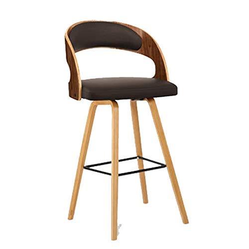 CHAIR Esszimmer, Fußstütze, Wohnzimmer, Barhocker Barstuhl Stuhl Massivholzstuhl Moderner Minimalistischer Hochhocker Cafe Hocker (99 Cm) H,Braun