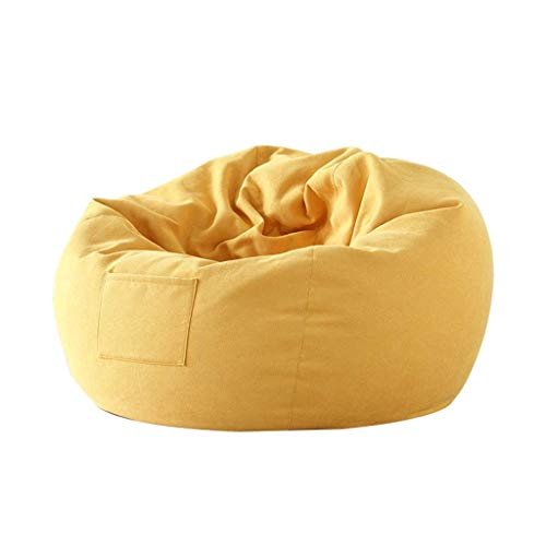 LMDC Inicio Suave Silla Perezosa del sofá Acogedor Individual Duradero Muebles Sin Relleno Salón Bean Bag (Color : Yellow)