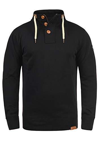 !Solid TripTroyer Herren Sweatshirt Pullover Troyer Pulli Mit Stehkragen Und Knopfverschluss, Größe:L, Farbe:Black (9000)