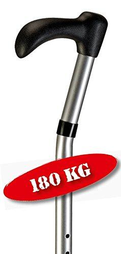 3 XL Gehstock in silber bis 180 kg mit Schwanenhals-Griff Gehhilfe
