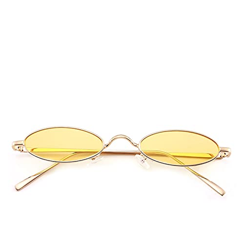 HUALIAN GUYINGQIU Red Gema cápsula Oval Estrecha Lente de Oro Gafas de Sol Retro Modelo de la Calle de la Calle de la Calle Gafas de Sol Steampunk Sven shibas (Color Name : Geel)