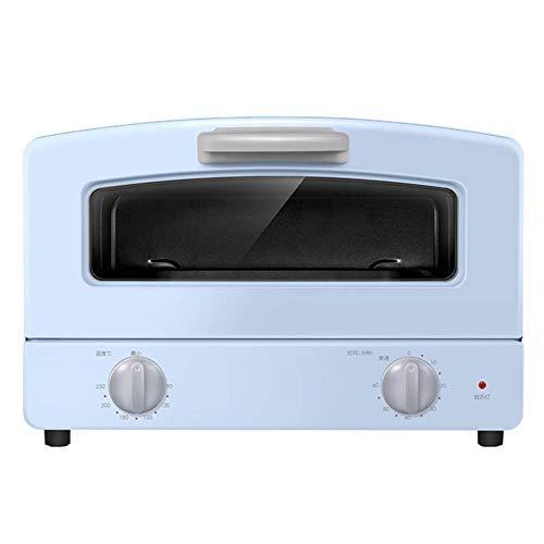 Compact oven, dubbele kwartsglasbuis, verwarming, vak-soort grilled net en 1000 W kookvermogen, tafel oven, blauw en roze (kleur: blauw) blauw